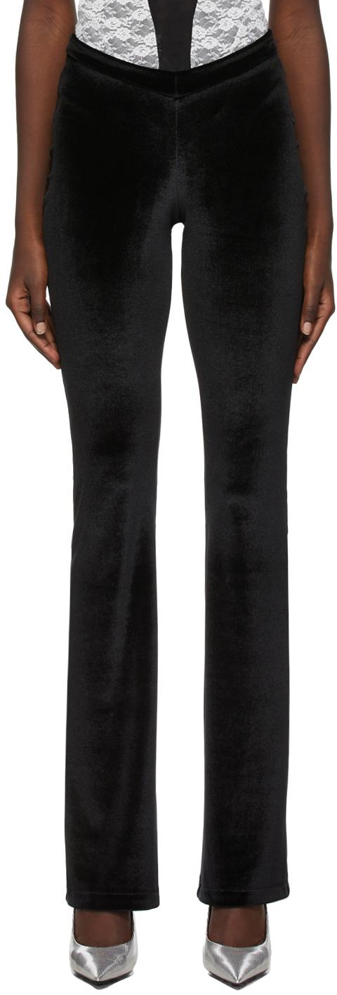 Photo: Kathryn Bowen Black Velour Flared Lounge Pants