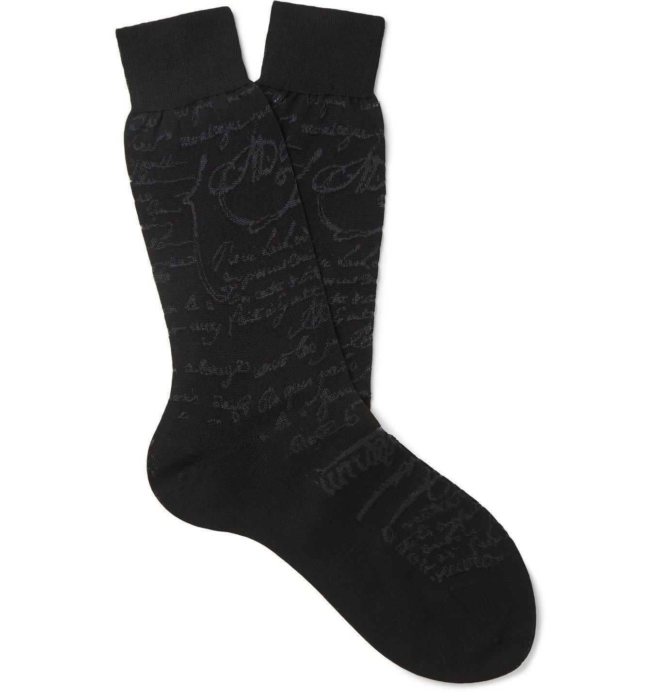 Photo: Berluti - Scritto Logo-Intarsia Cotton Socks - Black