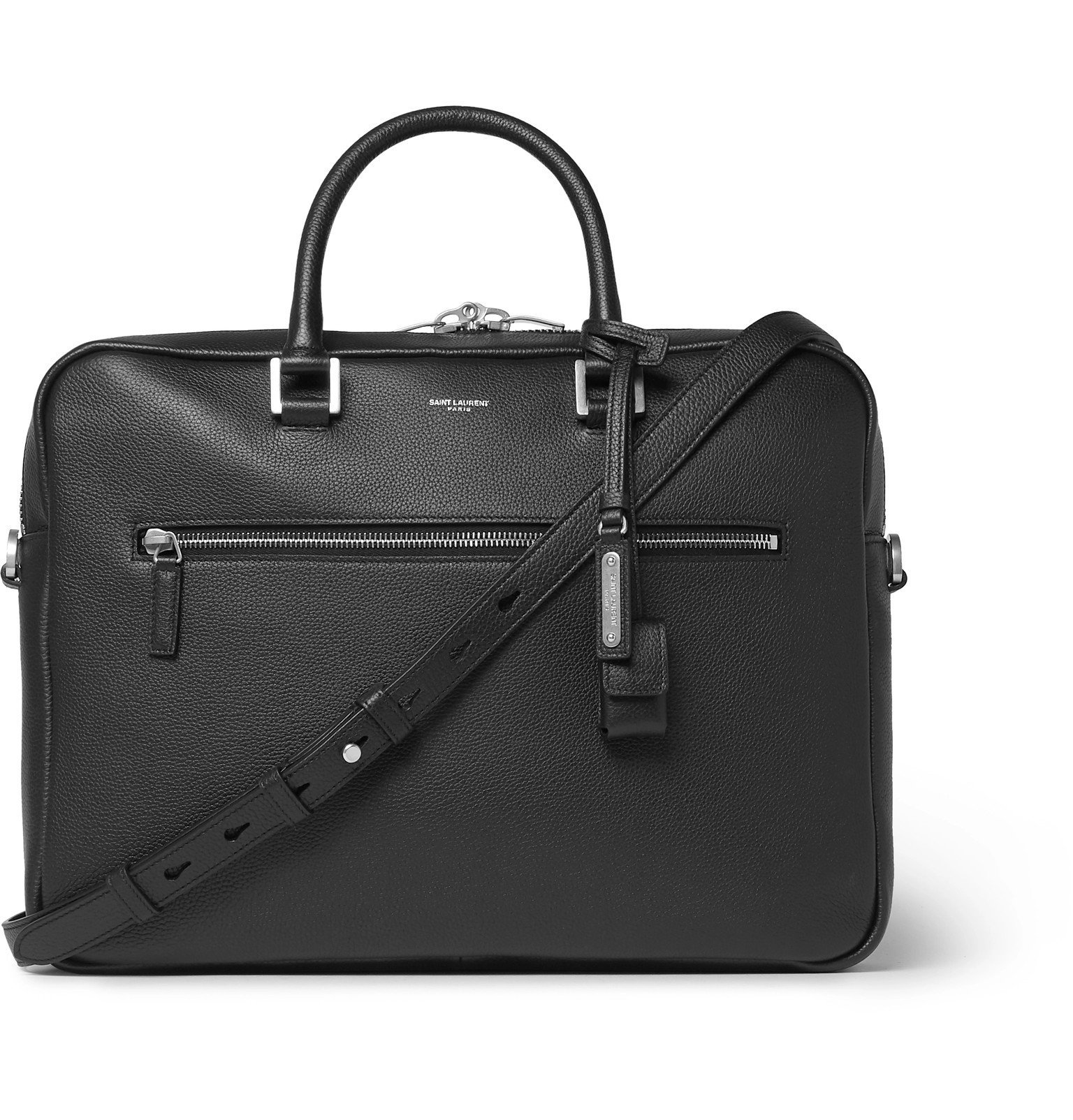 Photo: SAINT LAURENT - Full-Grain Leather Briefcase - Black