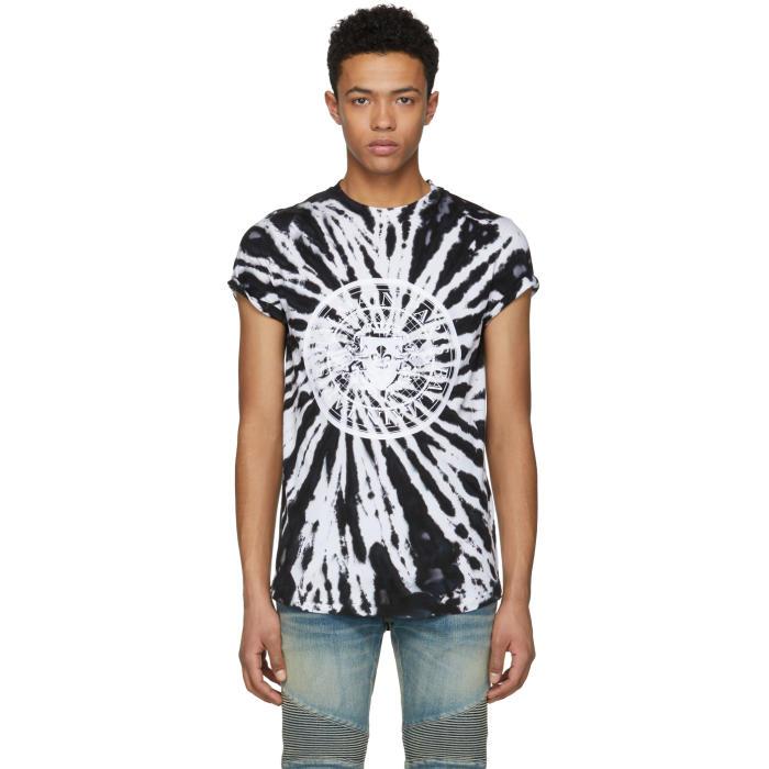 Photo: Balmain Black and White Tie-Dye Logo T-Shirt