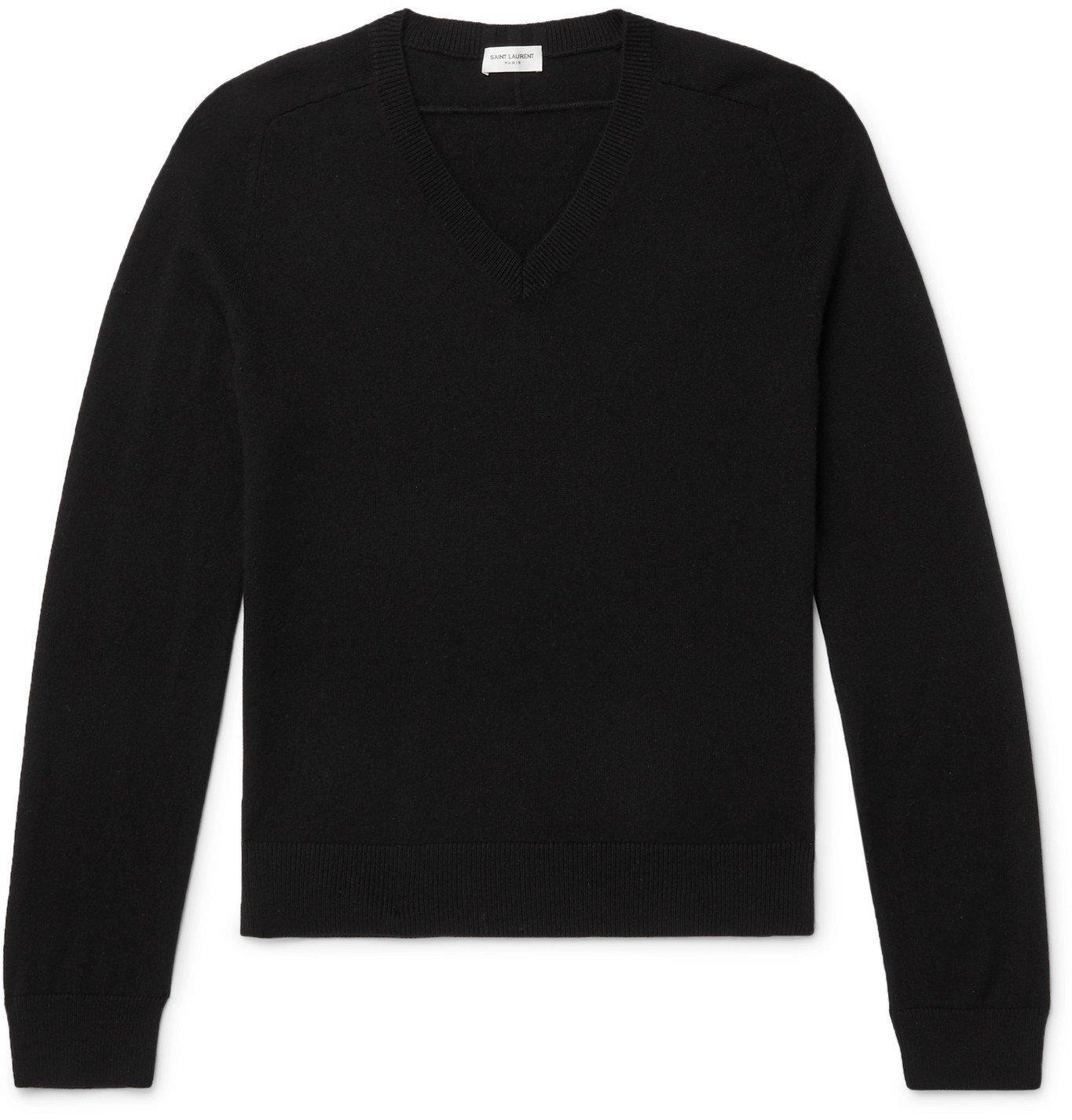 Photo: SAINT LAURENT - Slim-Fit Cashmere Sweater - Black
