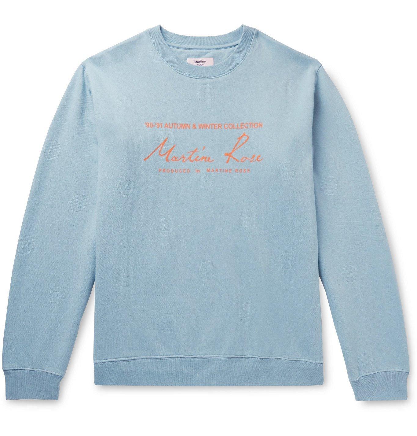 Martine Rose - Logo-Jacquard Printed Fleece-Back Cotton-Jersey Sweatshirt - Blue