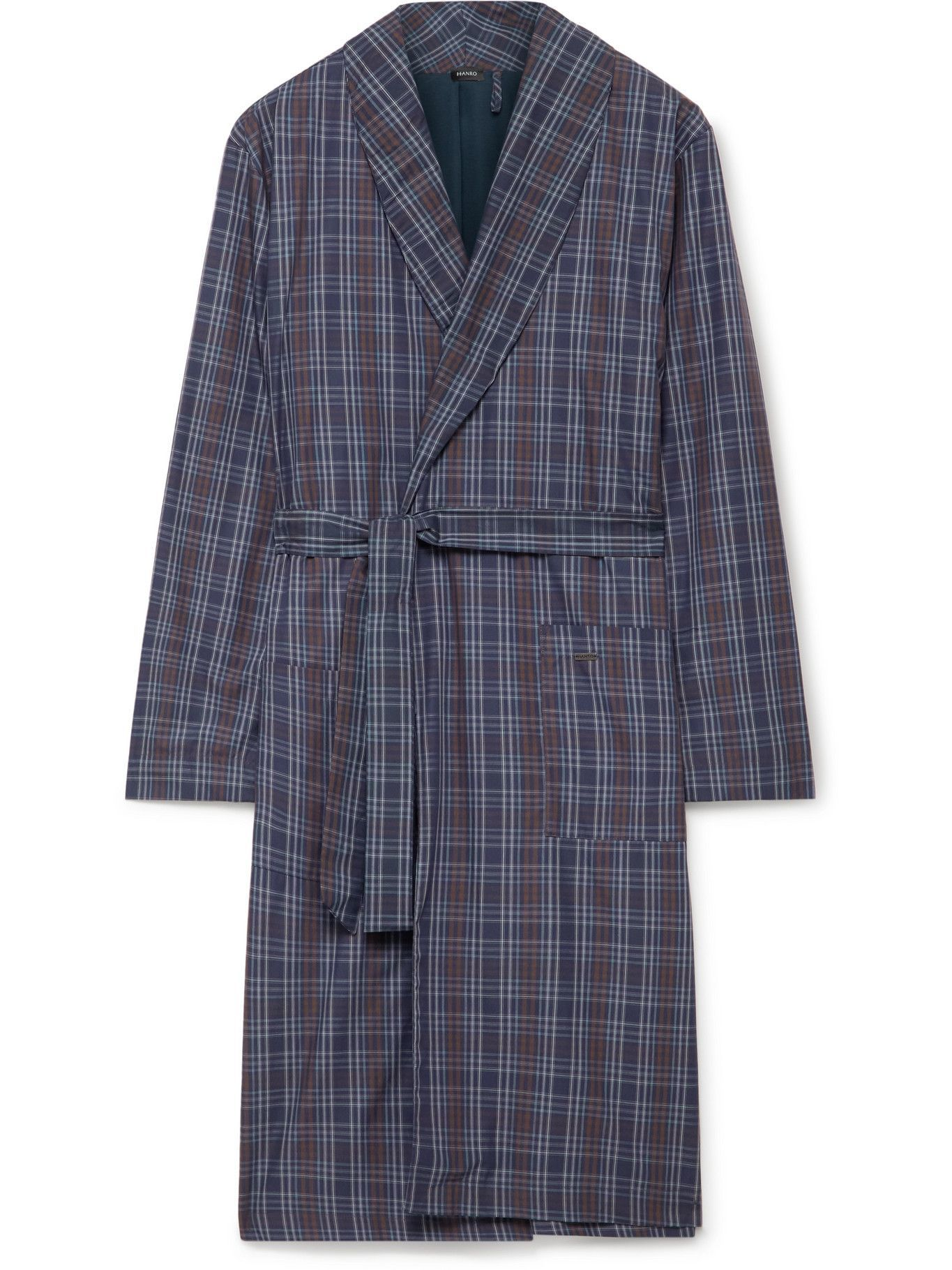 Photo: Hanro - Checked Cotton Robe - Blue