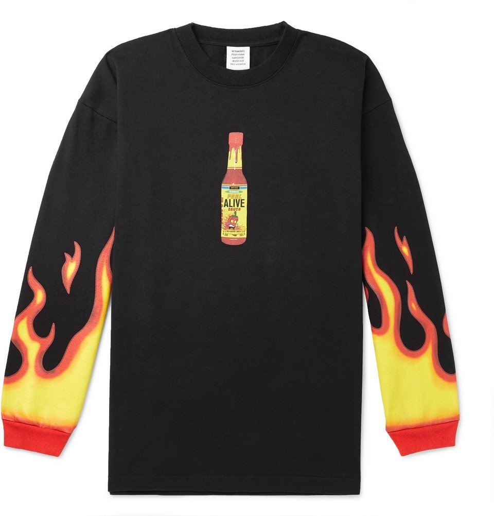 Photo: Vetements - Oversized Printed Cotton-Jersey T-Shirt - Black