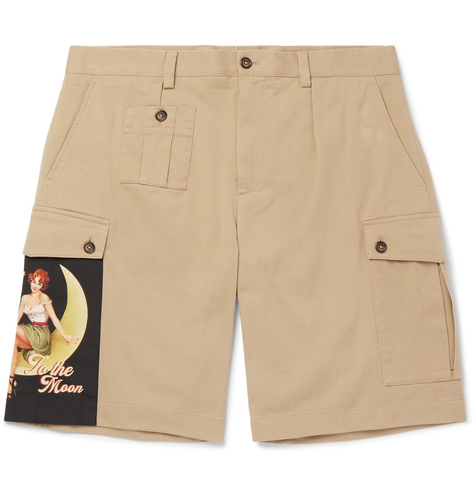 Photo: Dolce & Gabbana - Appliquéd Stretch Cotton-Gabardine Shorts - Neutrals