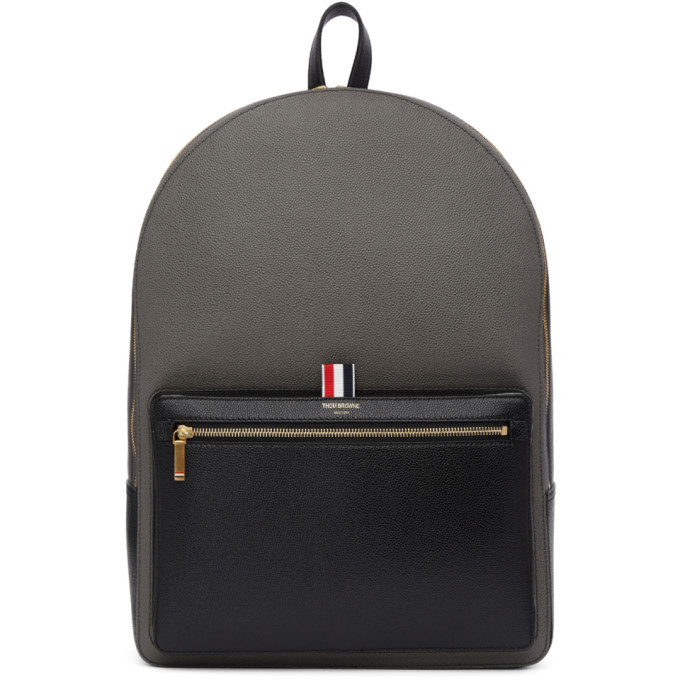 Photo: Thom Browne Black and Grey Colorblocked Unstructured Backpack