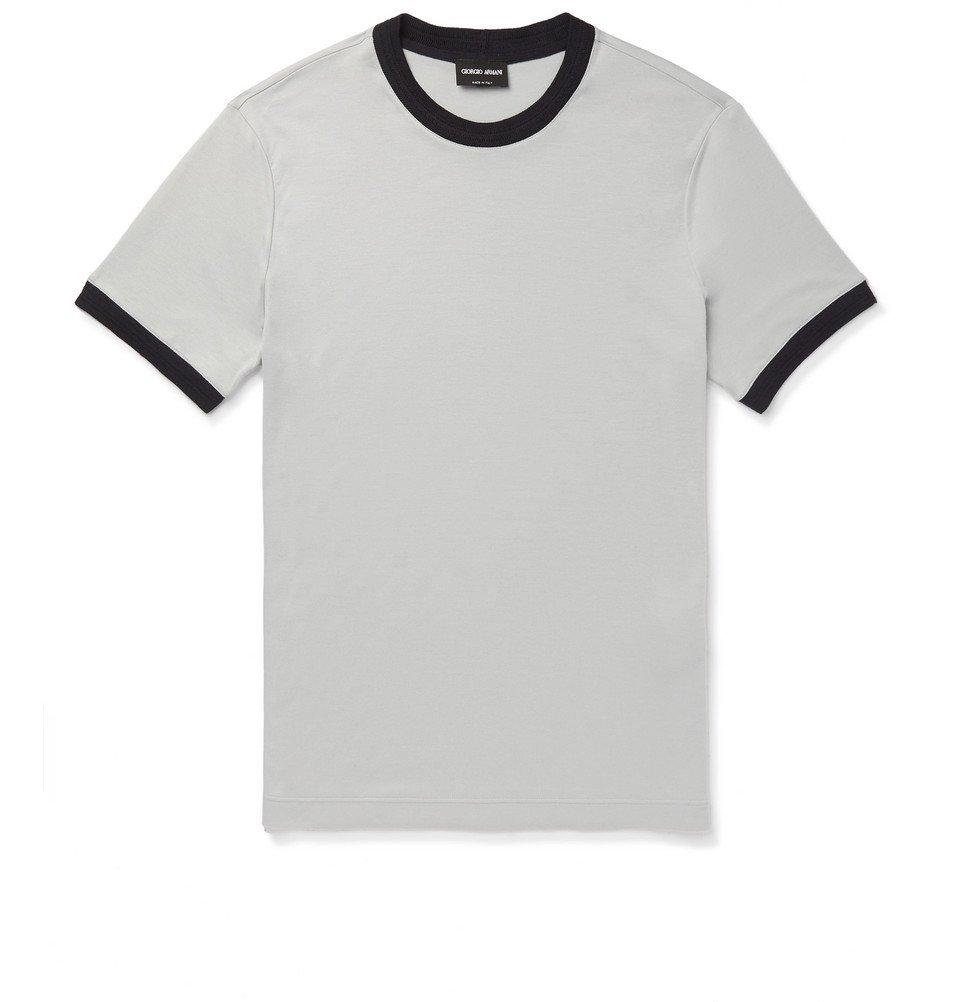Giorgio Armani - Slim-Fit Jersey T-Shirt - Light gray