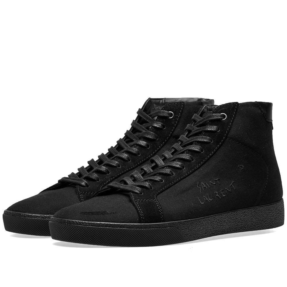 Photo: Saint Laurent SL-06 Mid Signature Canvas Sneaker Black