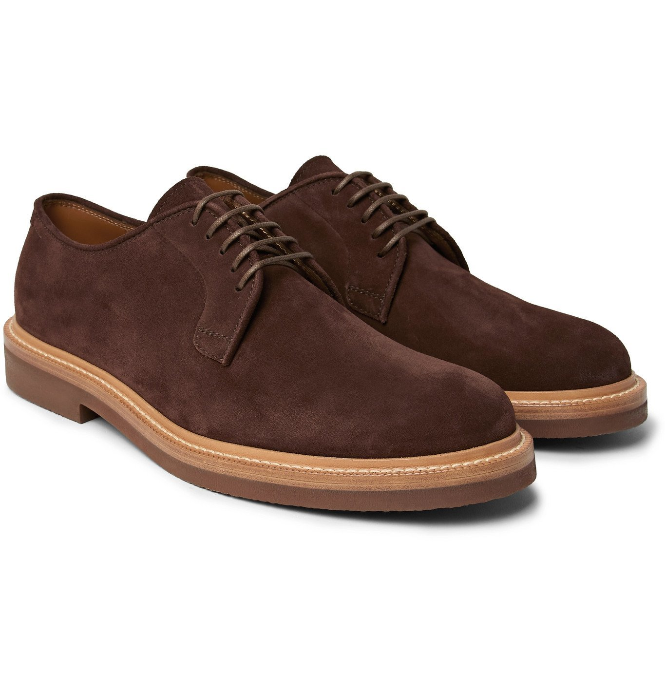 Brunello Cucinelli - Suede Derby Shoes - Brown