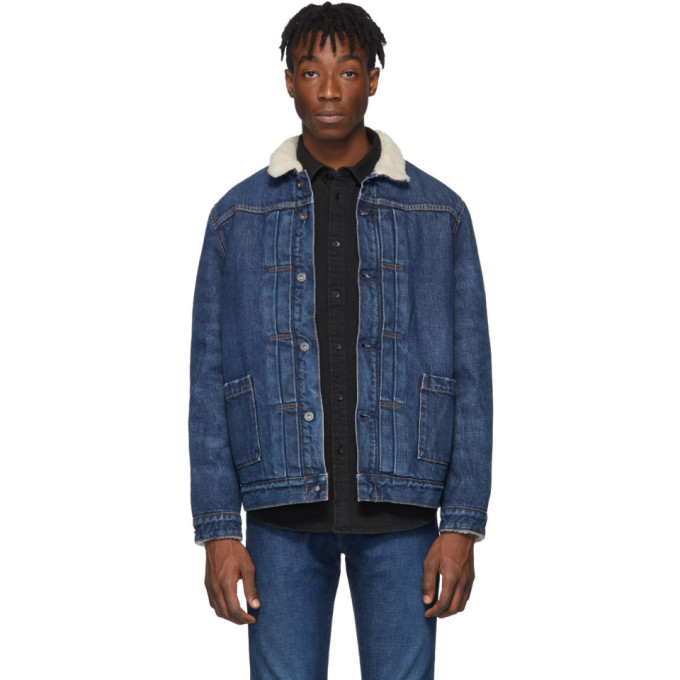 Photo: Levis Made and Crafted Blue Denim Type II Sherpa Trucker Jacket