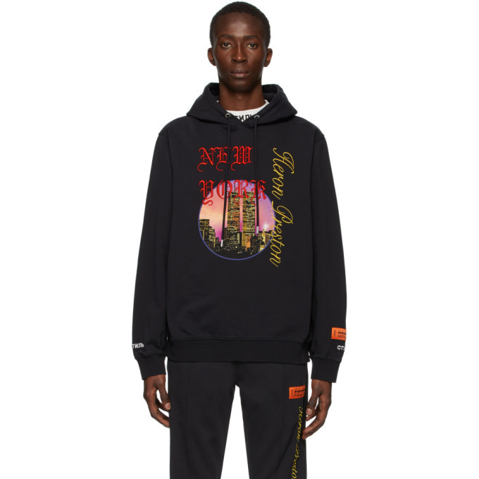 Photo: Heron Preston Black NYC Skyline Hoodie