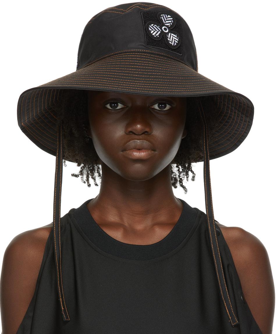 MCQ Black Coated Canvas Bucket Hat
