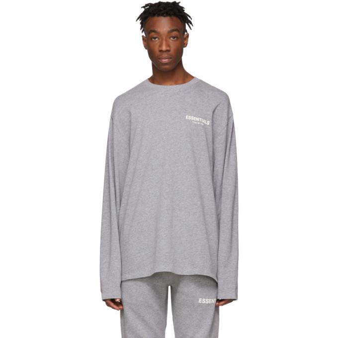 Photo: Essentials Grey Logo Long Sleeve T-Shirt