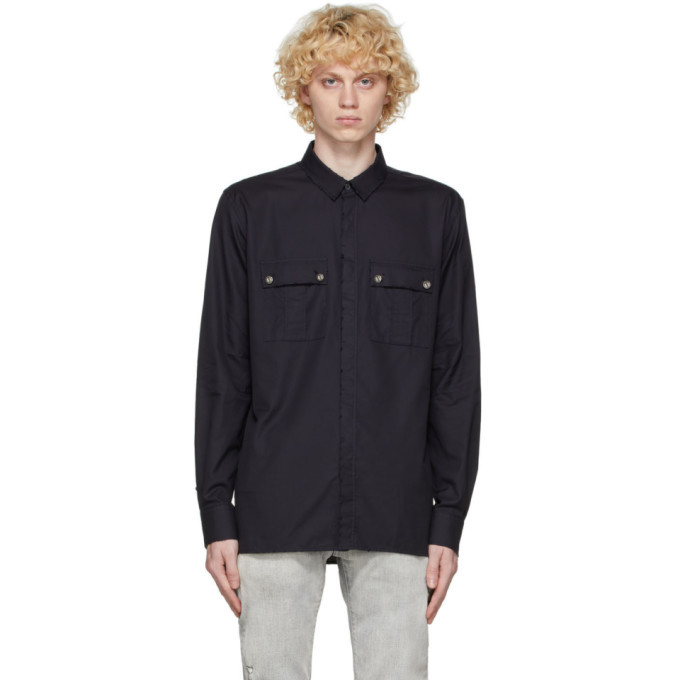 Photo: Balmain Black Used Oxford Cotton Shirt