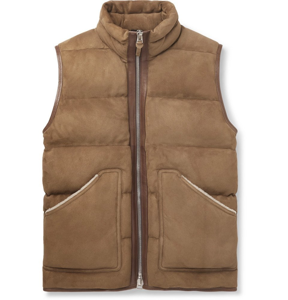 Photo: TOM FORD - Shearling and Leather-Trimmed Quilted Suede Gilet - Brown