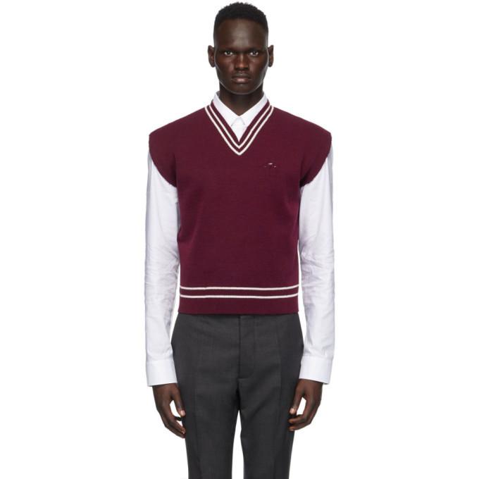 Photo: Maison Margiela Burgundy and White Gauge 12 Vest