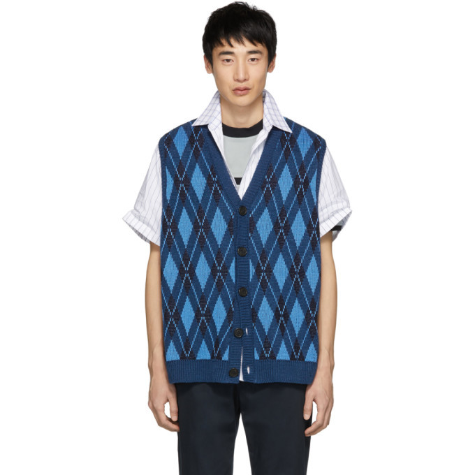 Photo: Stella McCartney Blue Argyle Sleeveless Cardigan