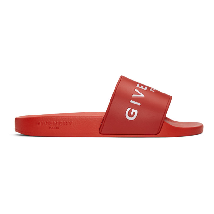 Photo: Givenchy Red Logo Slides