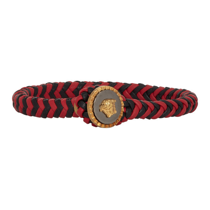 Photo: Versace Black and Red Medusa Braided Bracelet