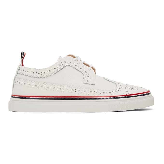 Photo: Thom Browne White Longwing Brogue Sneakers