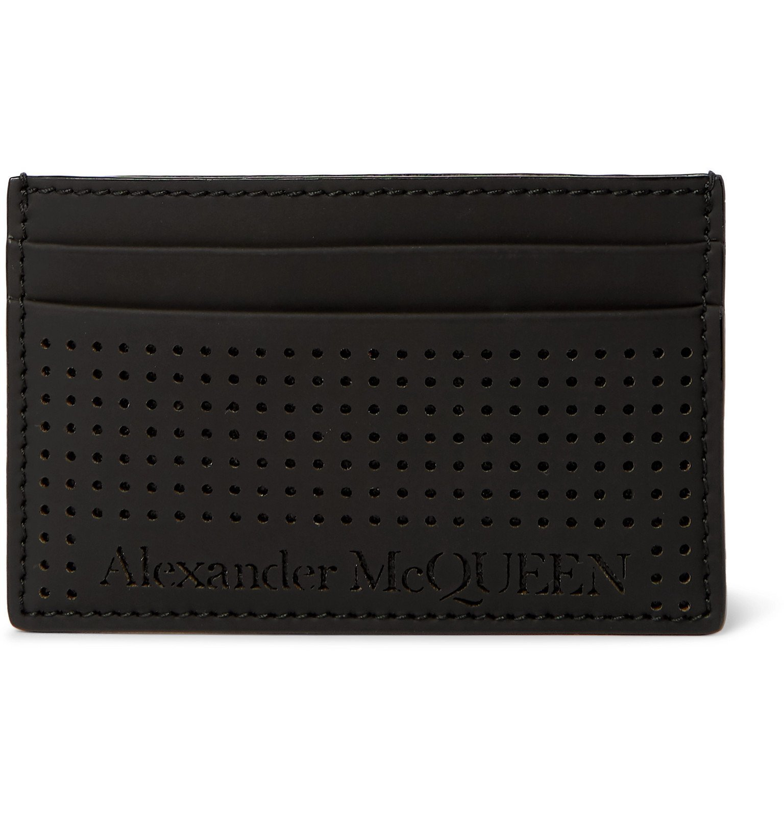Photo: Alexander McQueen - Perforated Leather Cardholder - Black