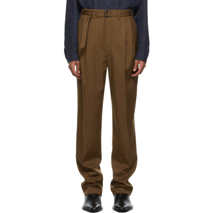 Photo: Lemaire Brown Wool Belted Pleat Trousers