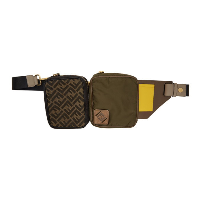 Photo: Fendi Green and Black Canvas Multi Pouch Forever Fendi Belt Bag