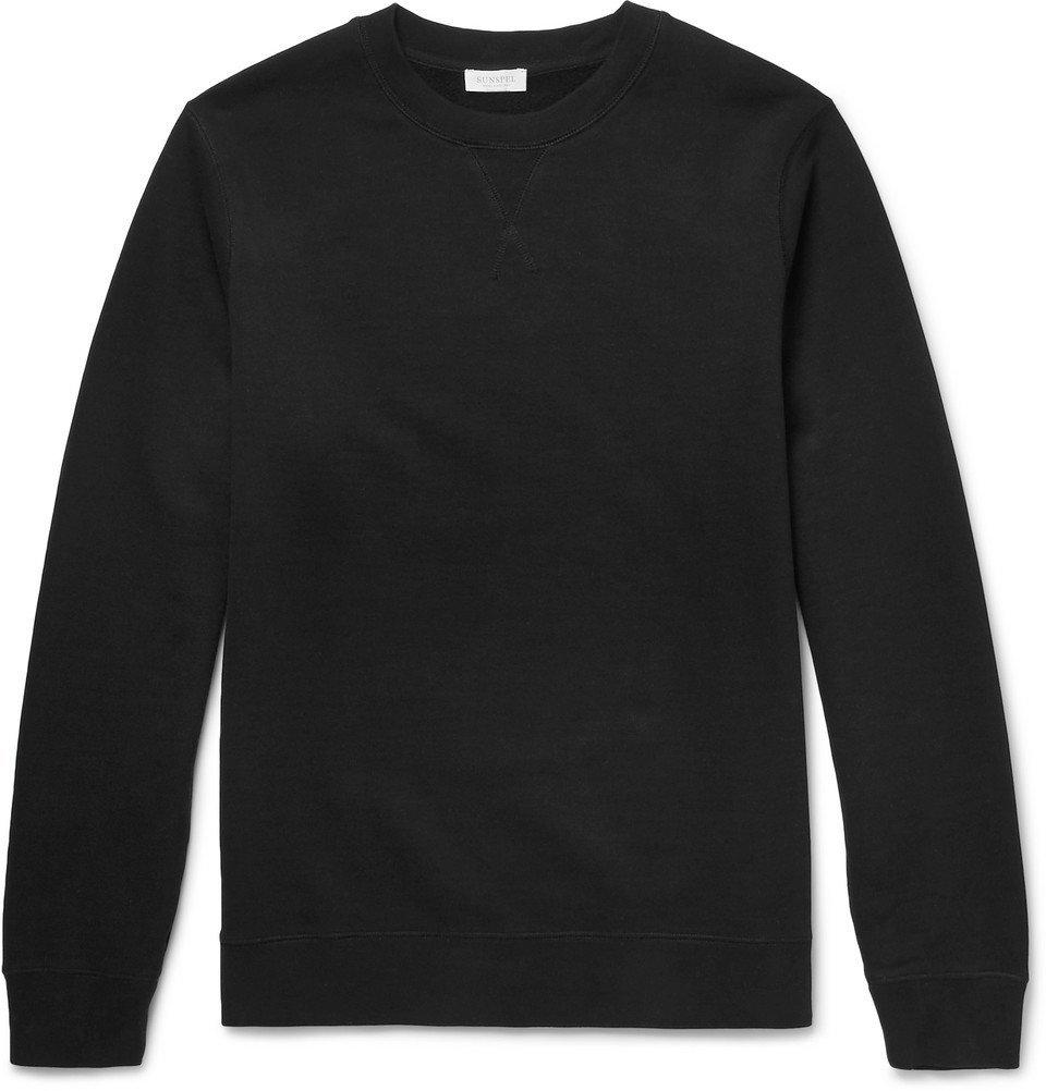 Sunspel - Brushed Loopback Cotton-Jersey Sweatshirt - Men - Black