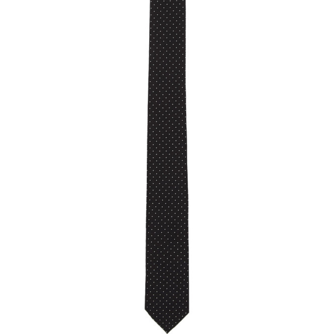 Photo: Saint Laurent Black Polka Dot Print Tie