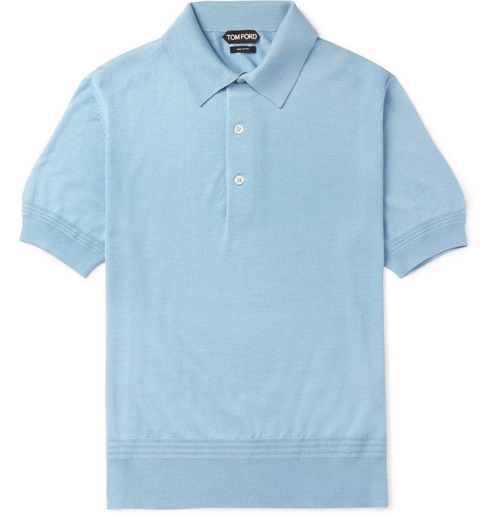 Photo: TOM FORD - Slim-Fit Cashmere and Silk-Blend Piqué Polo Shirt - Blue