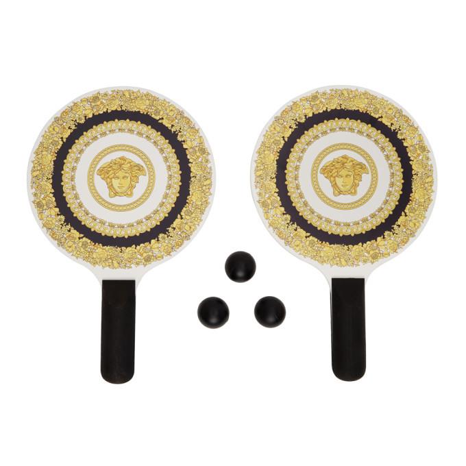Versace Black and Gold Medusa Paddle Ball Set