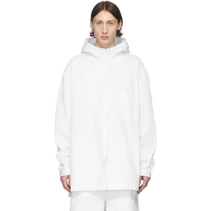 Photo: Y-3 White Heavy Poplin Hooded Shirt