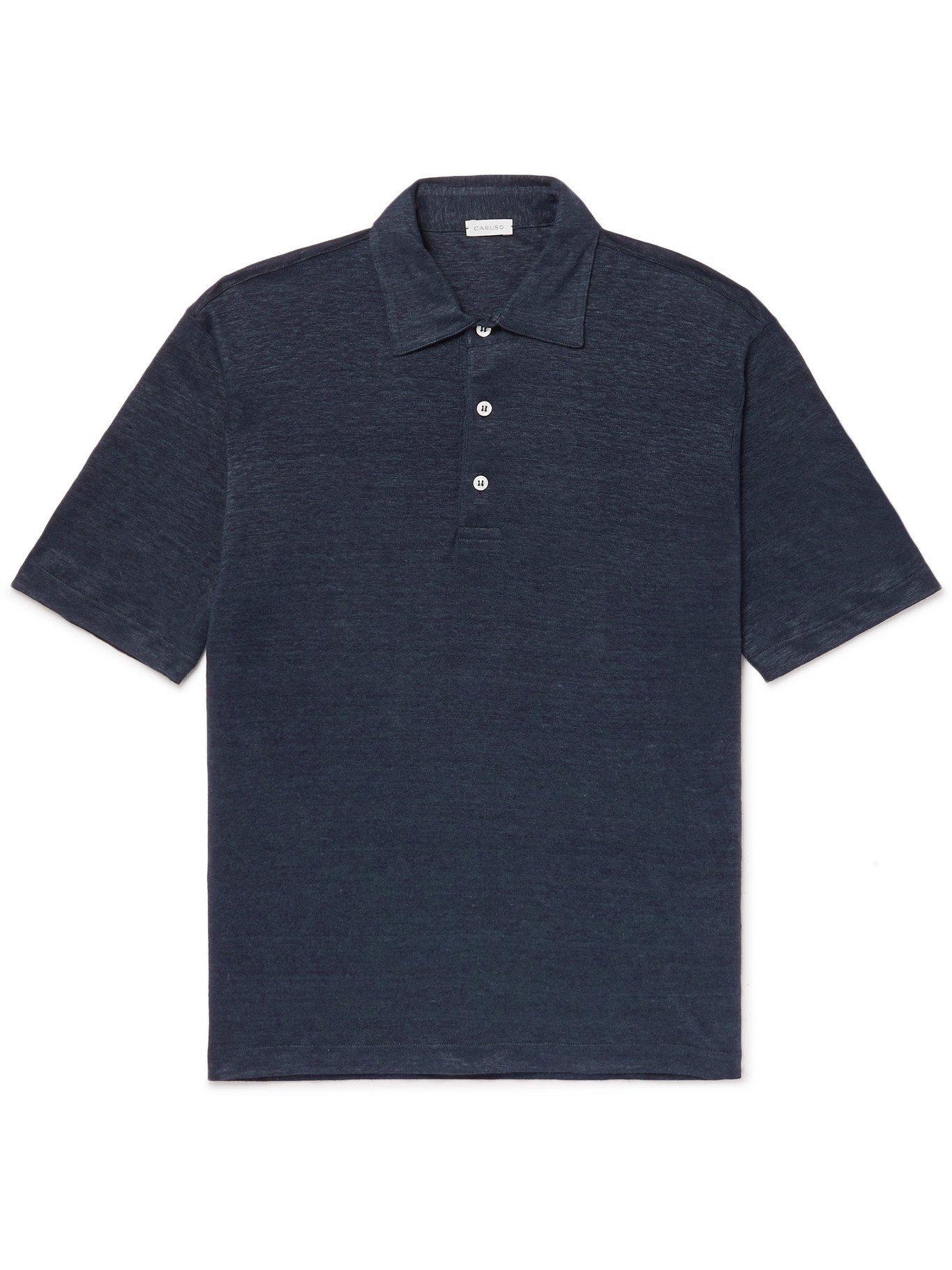 Photo: CARUSO - Slim-Fit Linen Polo Shirt - Blue