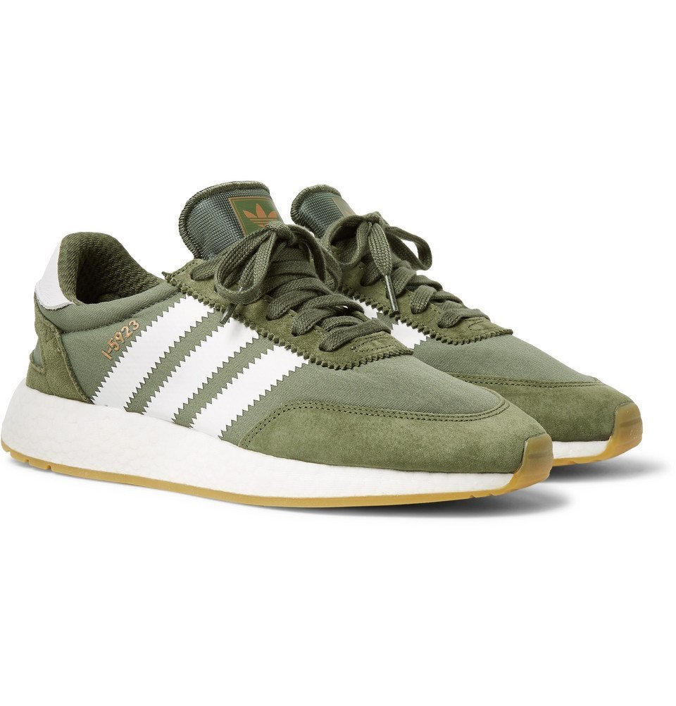 adidas Originals - I-5923 Suede-Trimmed Neoprene Sneakers - Men - Army green