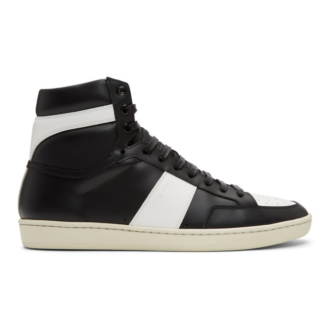 Photo: Saint Laurent Black and White Court Classic SL/10 High-Top Sneakers