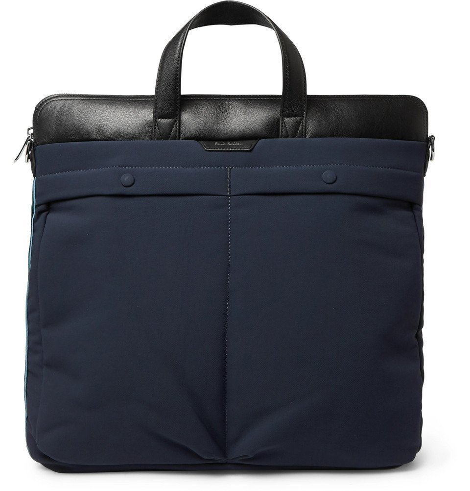 Photo: Paul Smith - Leather-Trimmed Canvas Tote Bag - Navy