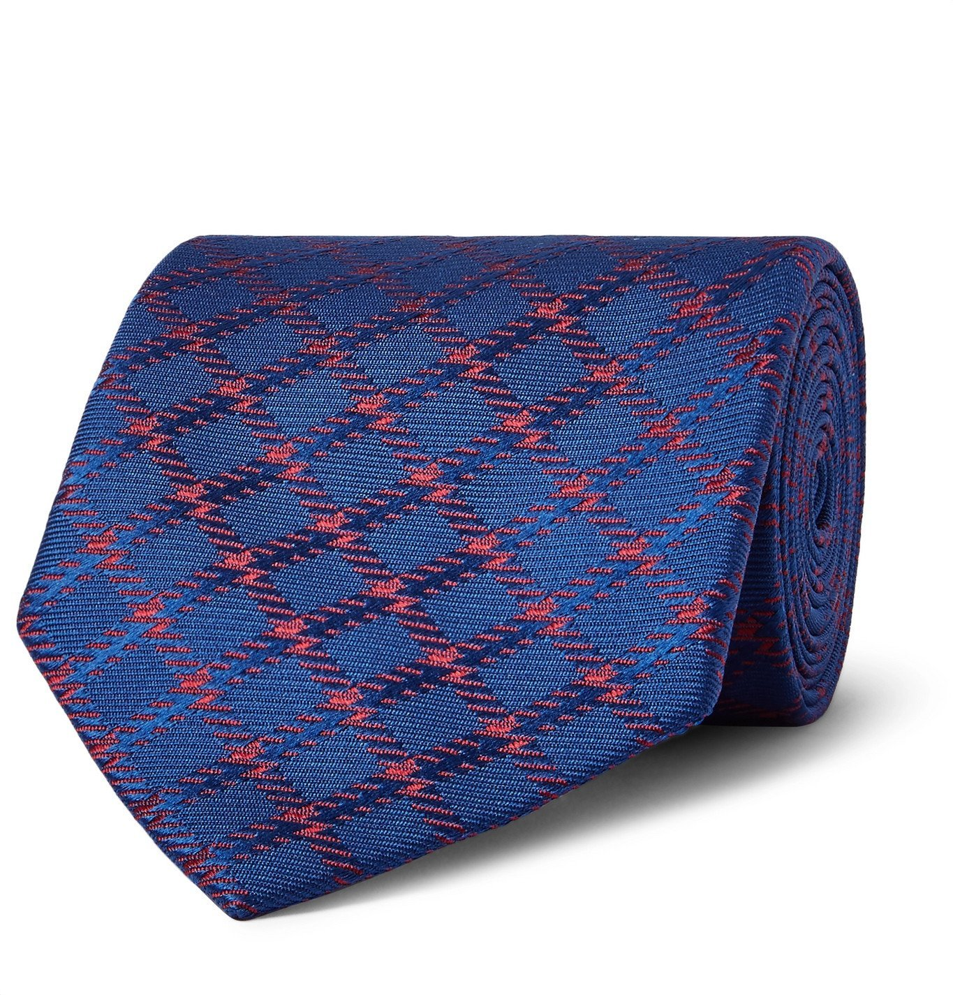 Photo: Charvet - 8.5cm Checked Silk-Jacquard Tie - Blue