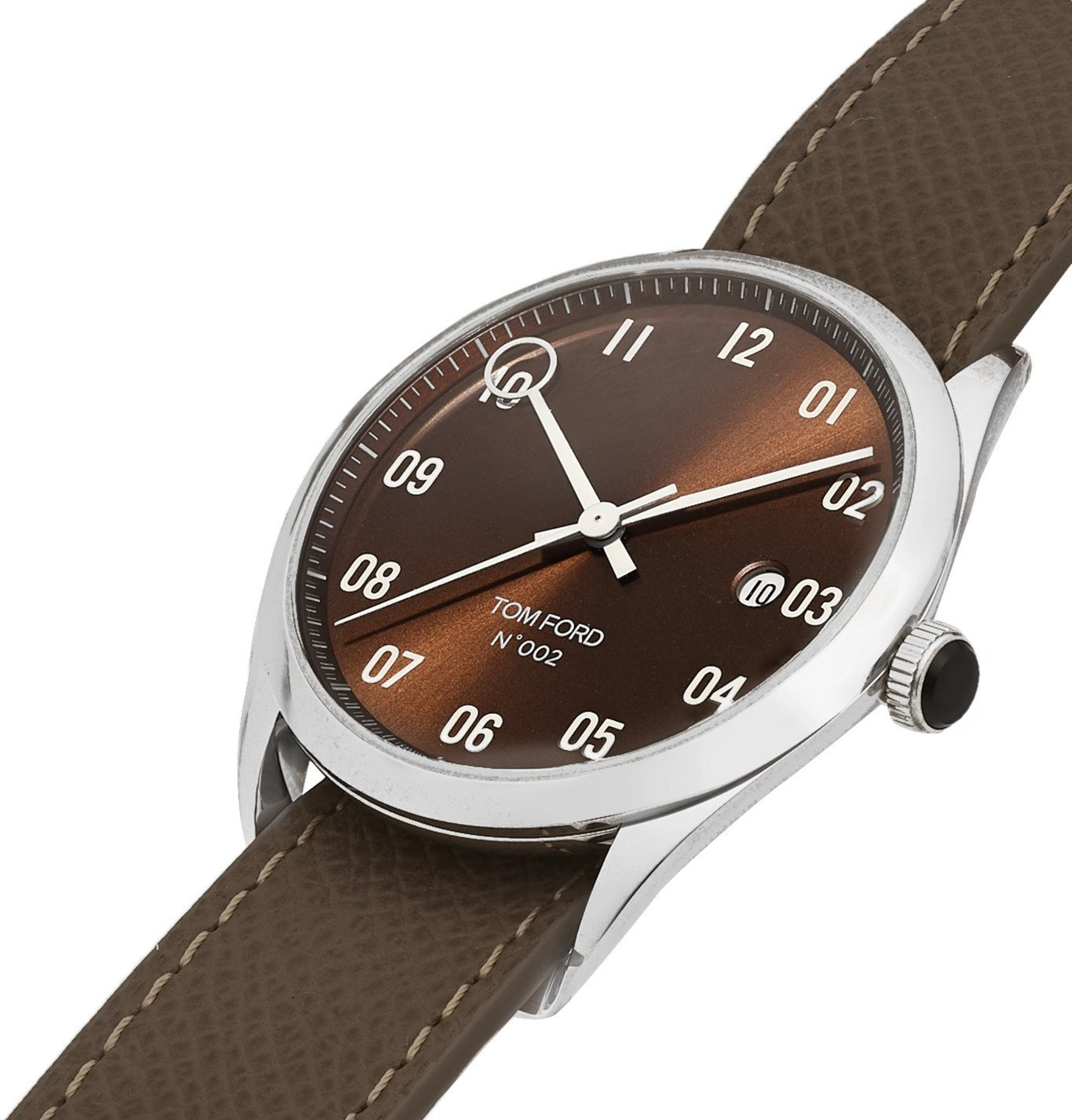 Tom Ford Timepieces - 002 40mm Stainless Steel and Pebble-Grain Leather Watch - Brown