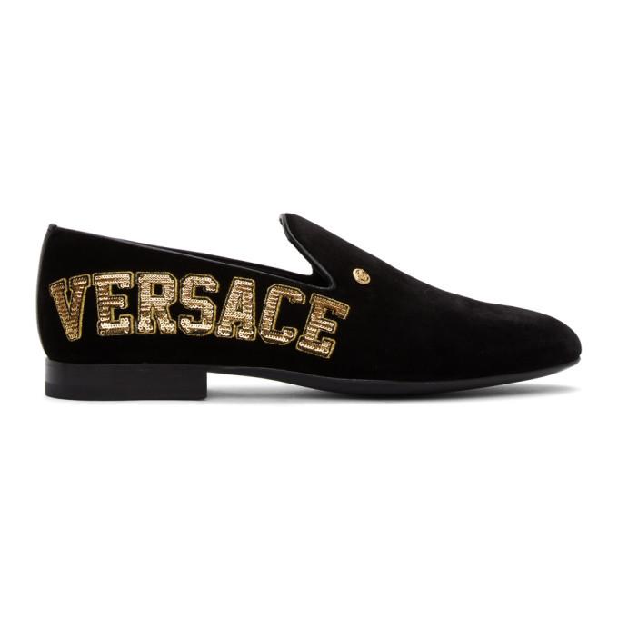 Photo: Versace Black Velvet Logo Loafers