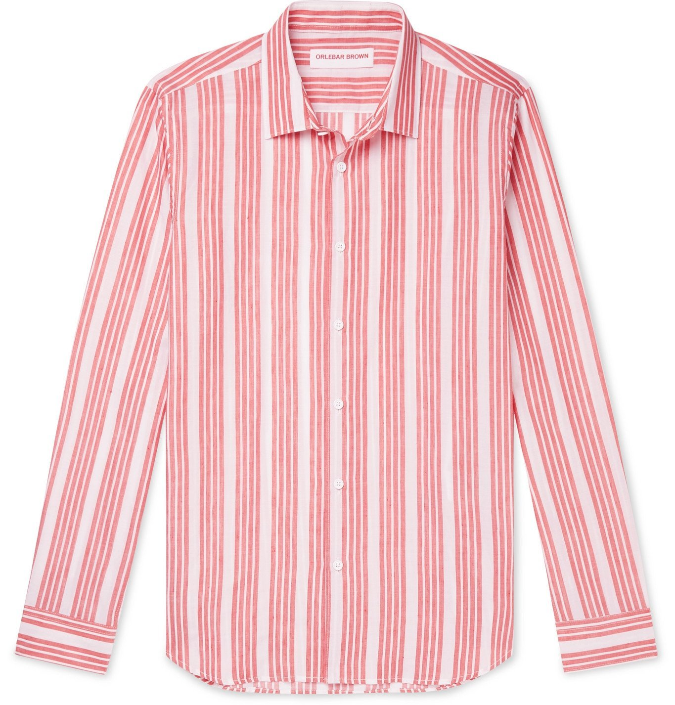 Photo: Orlebar Brown - Giles Island Slim-Fit Striped Cotton and Linen-Blend Shirt - Red