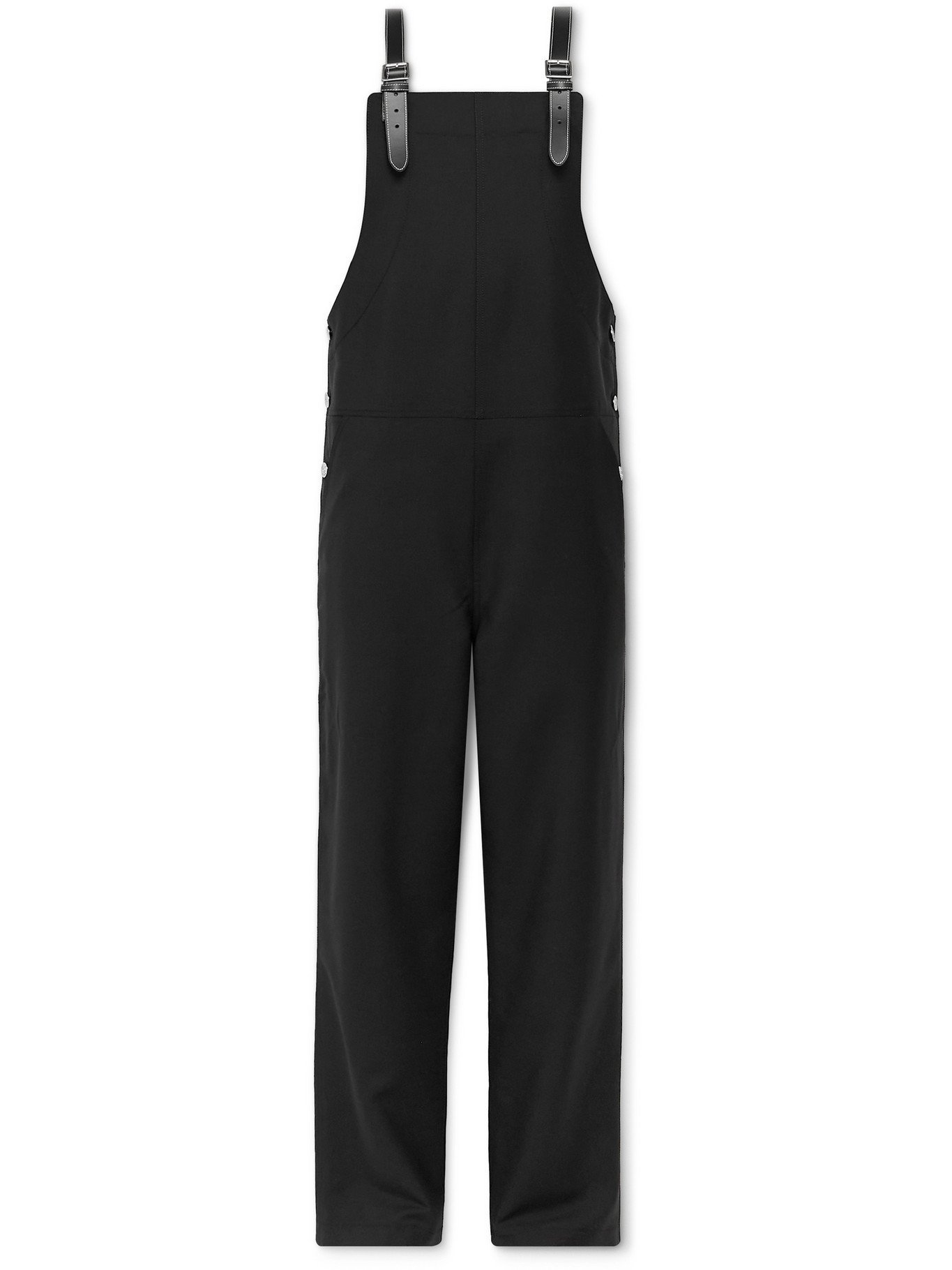 Photo: BURBERRY - Leather-Trimmed Mohair and Virgin Wool-Blend Overalls - Black - IT 46