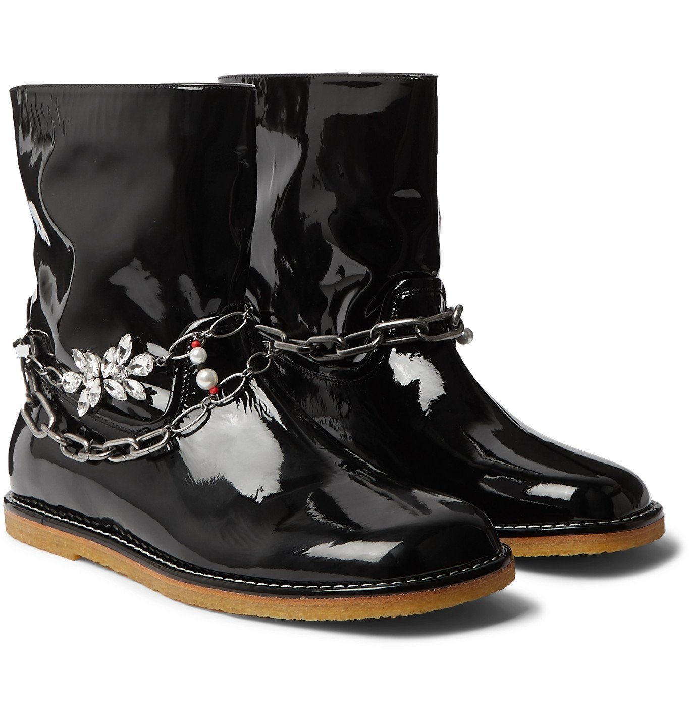 Photo: Loewe - Chain-Embellished Patent-Leather Boots - Black