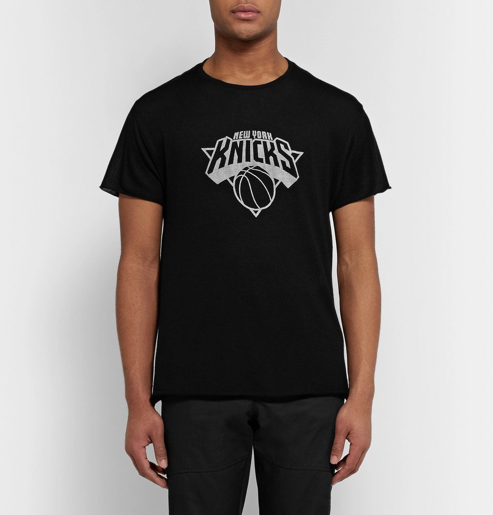 The Elder Statesman - NBA New York Knicks Cashmere and Silk-Blend T-Shirt - Black