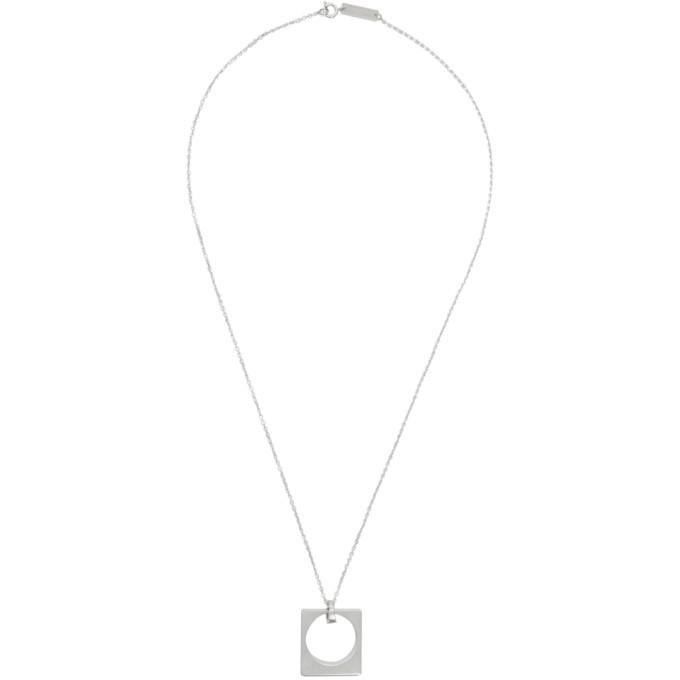 Photo: Maison Margiela Silver Square Pendant Necklace