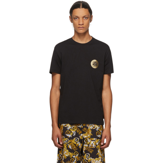 Versace Jeans Couture Black and Gold Logo T-Shirt
