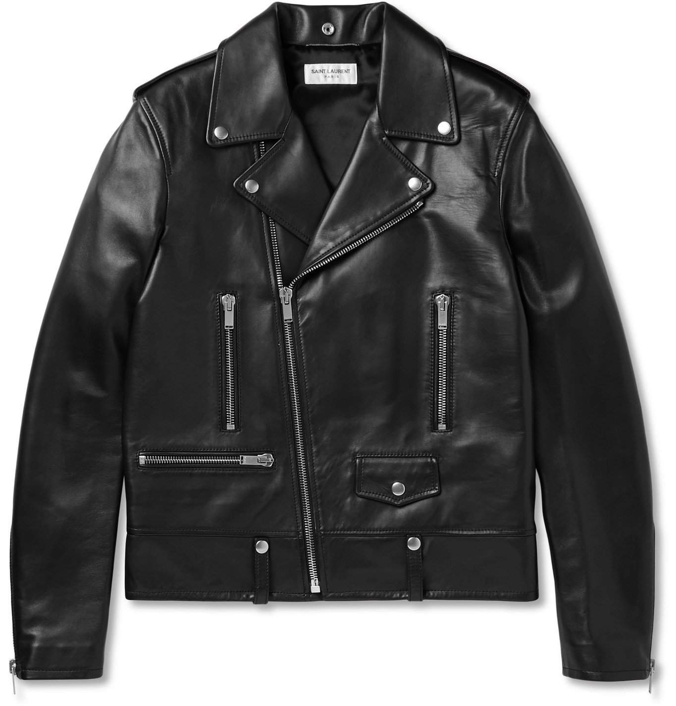 Photo: SAINT LAURENT - Leather Biker Jacket - Black