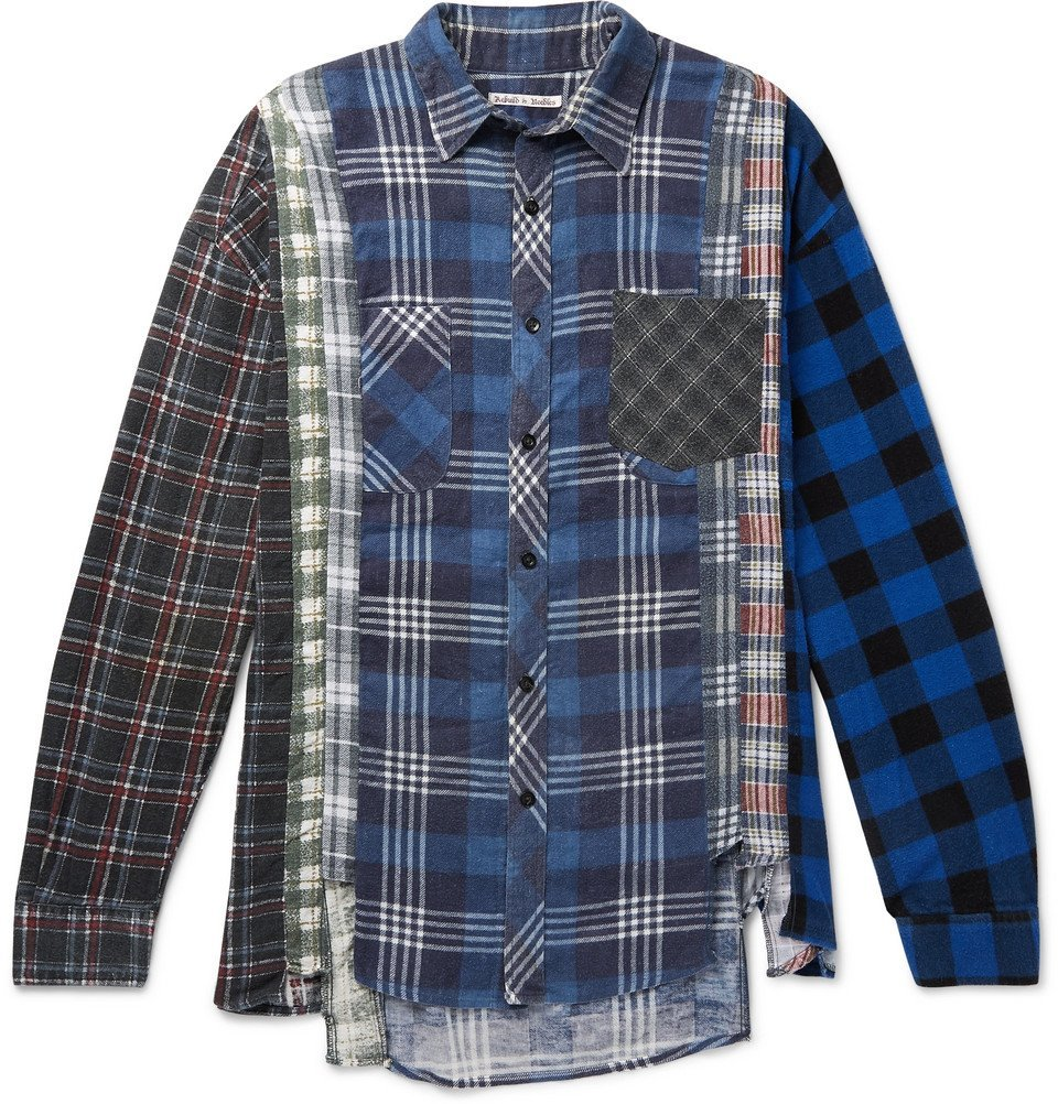 Photo: Needles - 7 Cuts Distressed Patchwork Checked Cotton-Flannel Shirt - Navy