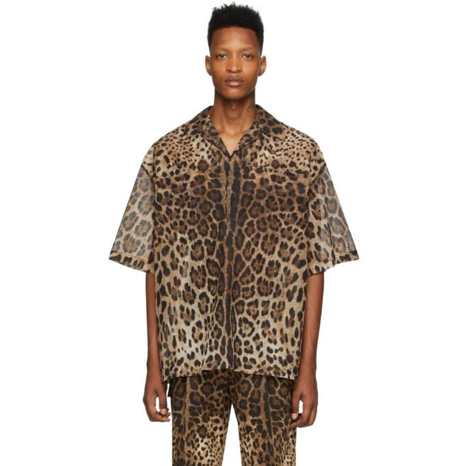 Photo: Dolce and Gabbana Brown Ripstop Leopard Shirt