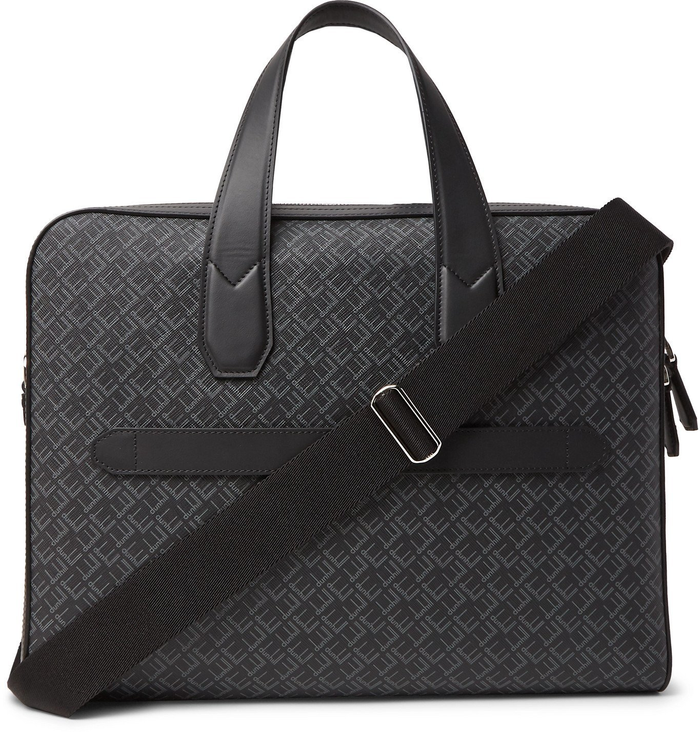 Dunhill - Leather-Trimmed Logo-Print Coated-Canvas Briefcase - Black