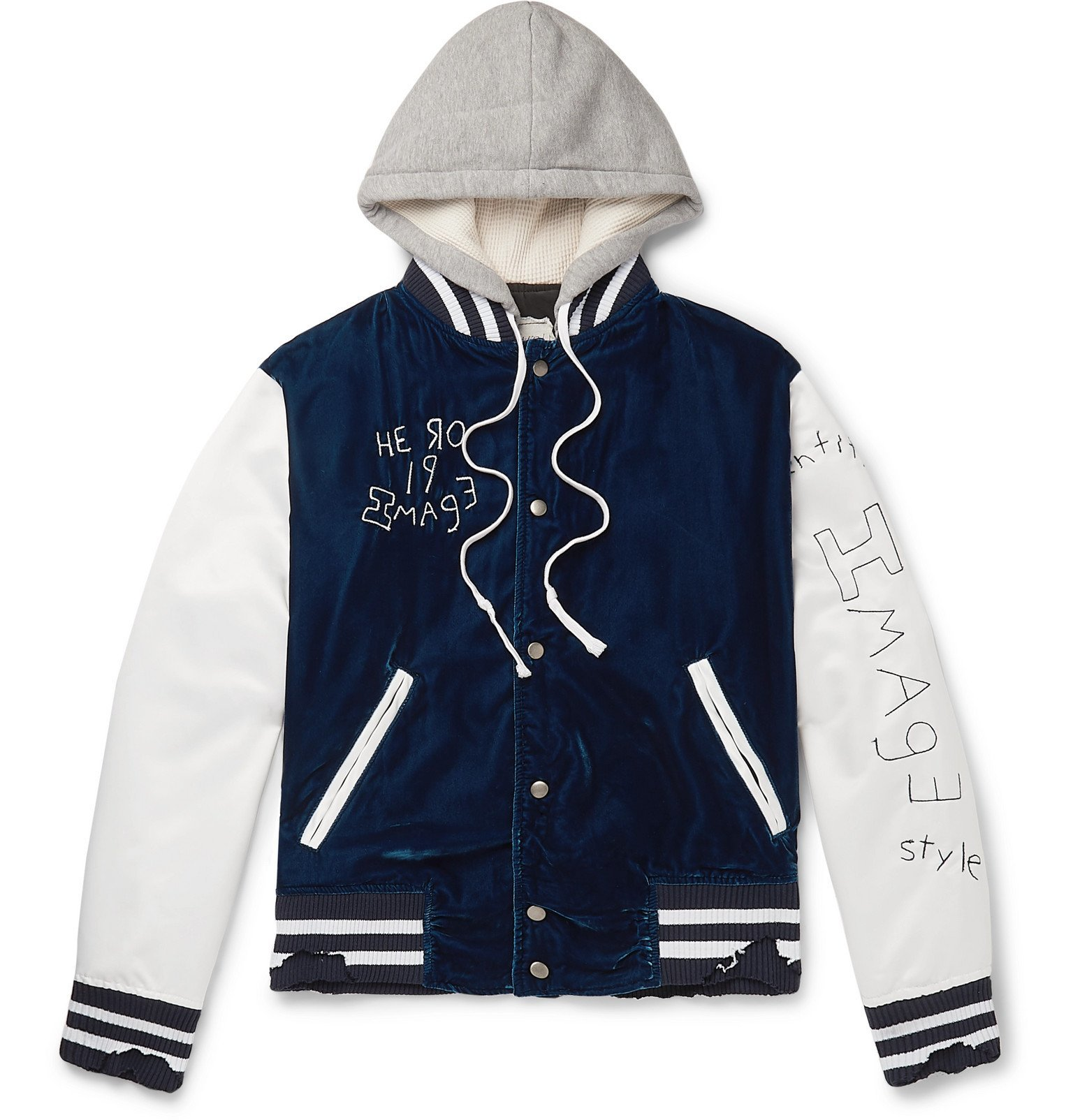 Photo: Greg Lauren - Distressed Embroidered Velvet, Satin and Jersey Hooded Bomber Jacket - Blue